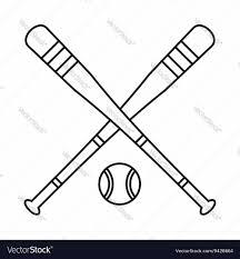 baseball bat and ball icon outline style vector image