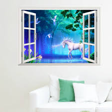 window wall murals promotion shop for promotional window wall magical unicorn white horse birds wall stickers 3d window effect wall stickers wallpaper for children bedroom decal poster mural