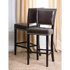 Brown Leather Bar Stool Bennett White Faux Leather 29 Inch High Back Bar Stools Set Of 2