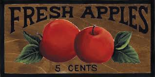 4 5x10 wooden country kitchen primitive fresh apples wood wall