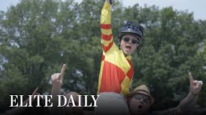 Flag Stakes Pretending To Be A Jockey At The Belmont Stakes Labs Youtube