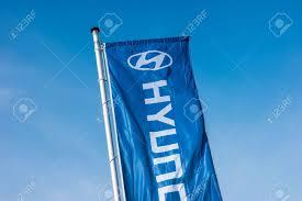 Flag Manufacturers Aachen Germany March 2017 Hyundai Logo On A Flag Hyundai