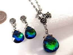 blue crystal necklace set images Peacock jewelry set swarovski aqua sphinx green blue crystal jpg