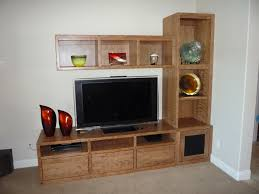 Flat Screen Tv Wall Cabinet by Unfinished Wood Corner Entertainment Center With Cubby Shelves And