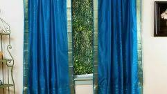 Blue Silk Curtains Floral Blossom Faux Silk Curtain Style Curtain Hang In Decorative