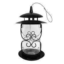 shop backyard glory brown metal hopper bird feeder at lowes com