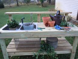 Merry Garden Potting Bench by Garden Work Bench With Sink Home Outdoor Decoration
