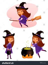 cute cartoon illustrations small witch stock vector 153196160