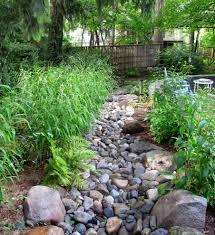 landscaping dry creek bed landscape southwestern with river rock