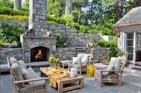 Outdoor Fireplace Patio Free Standing Patio Patio Traditional With Wood Bench Slate Patio
