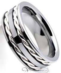 braided ring men s tungsten carbide sterling silver braided ring 8mm