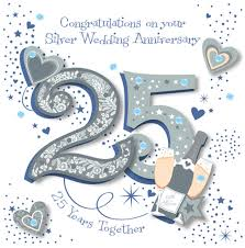 25 wedding anniversary handmade silver 25th wedding anniversary greeting card