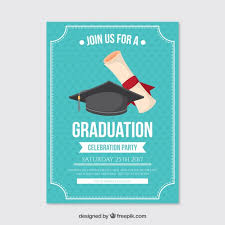 graduation poster dotted party poster with graduation cap and diploma vector free