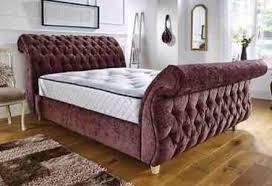Chesterfield Sleigh Bed Brand New 4ft6 Double Cream Soft Velvet Swan Chesterfield Sleigh