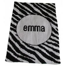 personalized knitted baby blanket zebra stripes