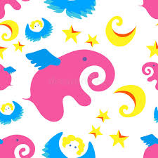 Hintergrundmuster Blau Rosa Elefant Engel Sterne Mond Hintergrund Muster