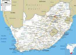 World Map With Cities Large Road Map Of South Africa With Cities And Airports South