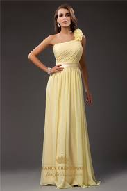 light yellow prom dresses light yellow one shoulder ruched bodice prom dress with flower strap