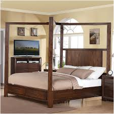 King Of Floors Laminate Flooring Furniture Brown Wooden Canopy Bed Frame With Drawers And