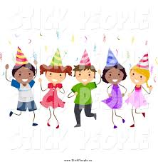 vector graphic of a celebrating stick birthday by bnp
