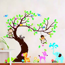 compare prices on children nursery decorations daycare online tree and monkey wall sticker children room background wall sticker diy decoration nursery daycare baby room