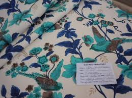 Upholstery Fabric With Birds Eclan Color Turquoise Floral With Birds Home Decor Fabric