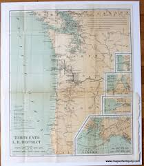 map of oregon lighthouses antique maps and charts original vintage historical