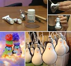 wonderful diy light bulb penguin ornaments