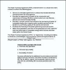 sample power purchasing agreement letter templatezet