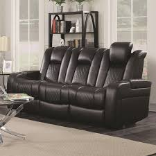 casual power reclining sofa with cup holders storage console and
