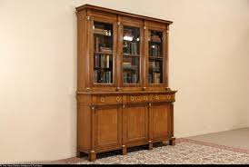 Antique Breakfront China Cabinet by Baker Signed Vintage Cherry Breakfront Bookcase Or China Cabinet