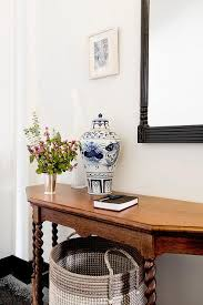 White Foyer Table Black And White Foyer With Black Grasscloth And White Console