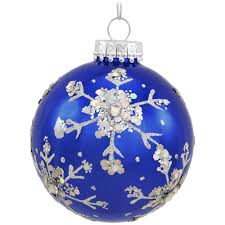 royal blue glass ornament with silver snowflakes snowflake