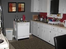 red kitchen cabinets grey walls kitchen