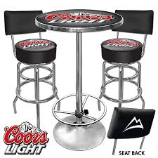coors light bar stools sale this coors light 2 bar stools with backrest and table combo is a