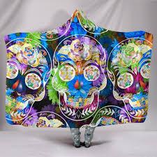 buy sugar skull flower hooded blanket hooded blanket hooded blanket