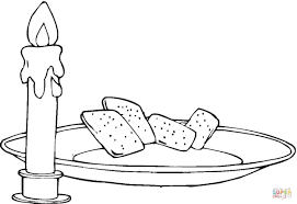 candle and bread coloring page free printable coloring pages
