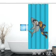 giraffe riding shark shower curtain funny diver punch shark print shower curtain giraffe riding shark shower