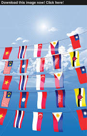 Flag Hanging Asian Countries Decorated And Hanging The Asian Flags Vector