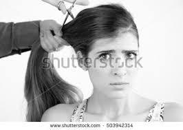 extremehaircut blog black white portrait young woman long stock photo 503942314