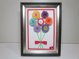 paper quilling artwork handmade daisy flower picture with