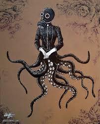 Halloween Costume Gas Mask Stuffed Octopus Tenticles Victorian Jacket Gas Mask