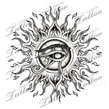 and eye of ra black tribal sun and horus eye