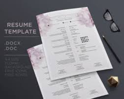 Reference Resume Template Floral 1 Page Resume Template Cover Letterreference Letter