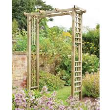 square natural wood berkeley arch climbing plant garden trellis