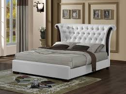 bed rush chesterfield white faux leather bed frame