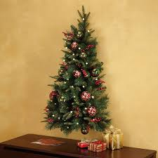 pre lit and pre decorated hanging wall tree at brookstone buy now