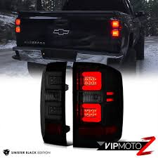 euro tail lights for chevy silverado sinister black smoke led neon tube tail lights 2016 2018 chevy