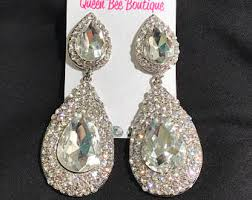 Sparkly Chandelier Earrings Pageant Earrings Etsy