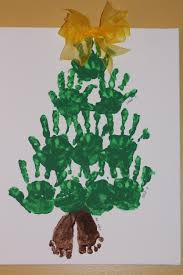 handprint footprint christmas tree footprint is 4 mo old baby